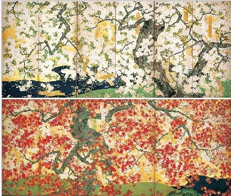 Foto Kirschblüten u. Ahornlaub, Foto: Nezu Museum